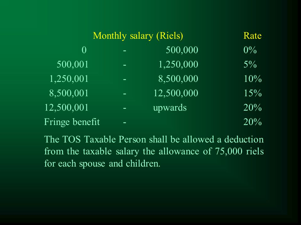 Tax on Salary  The enterprise which is the employer has the obligation to withhold tax before salary payment  Pay this tax to the tax administration in the form prescribed by the tax administration by the 15th of the month following the month in which the salary is paid.