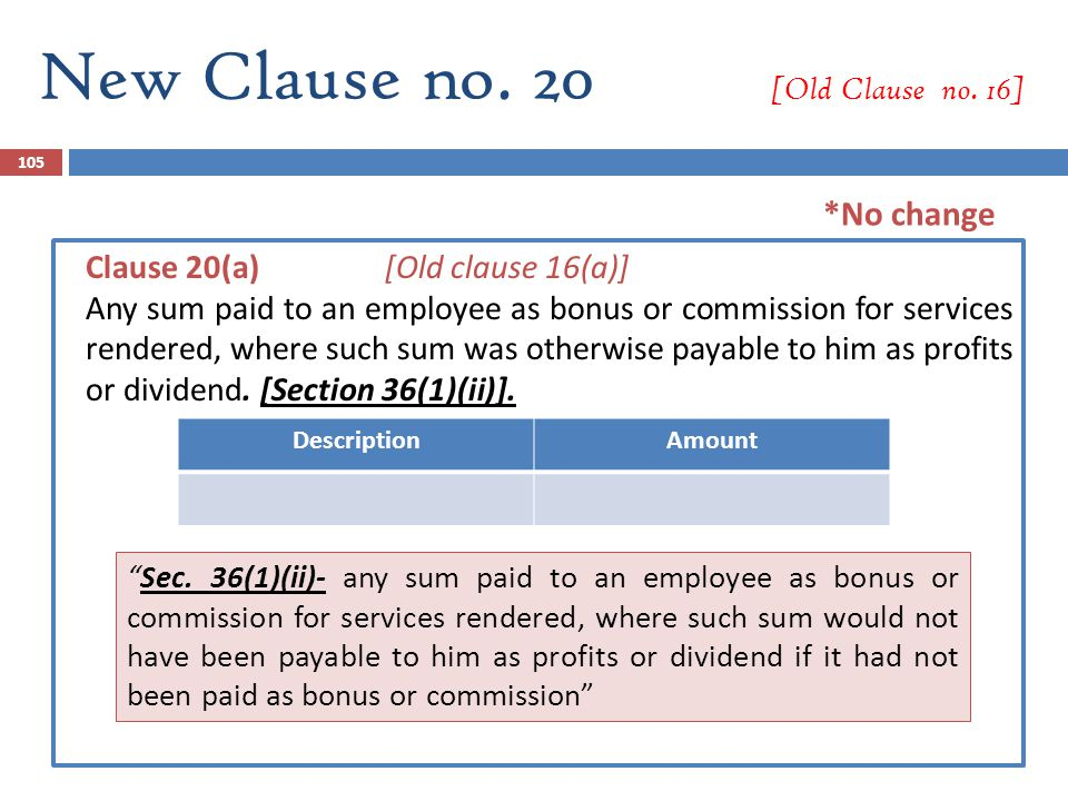 105 Clause 20(a) [Old clause 16(a)] Any sum paid to an employee as bonus or commission for services rendered, where such sum was otherwise payable to