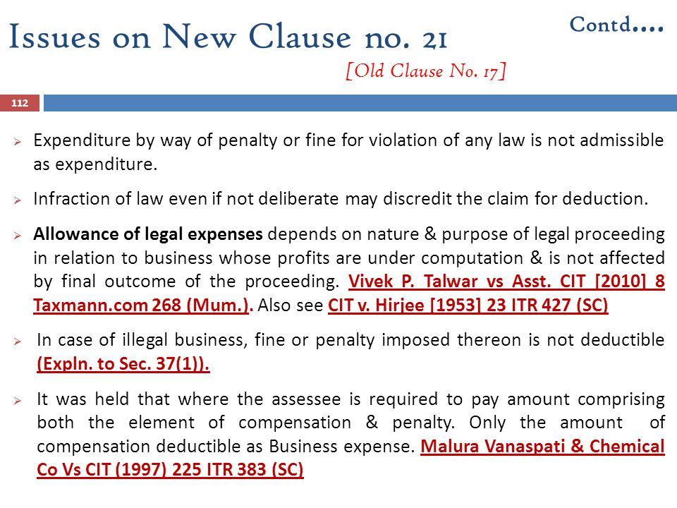 112  Expenditure by way of penalty or fine for violation of any law is not admissible as expenditure.  Infraction of law even if not deliberate may