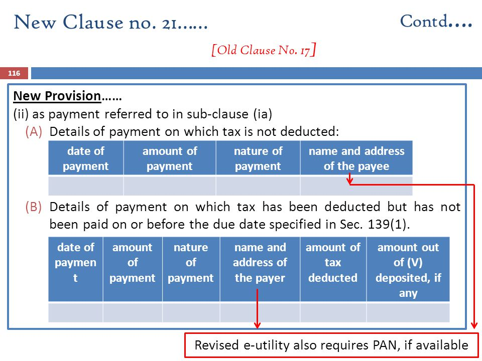 New Provision…… (ii) as payment referred to in sub-clause (ia) (A)Details of payment on which tax is not deducted: (B)Details of payment on which tax
