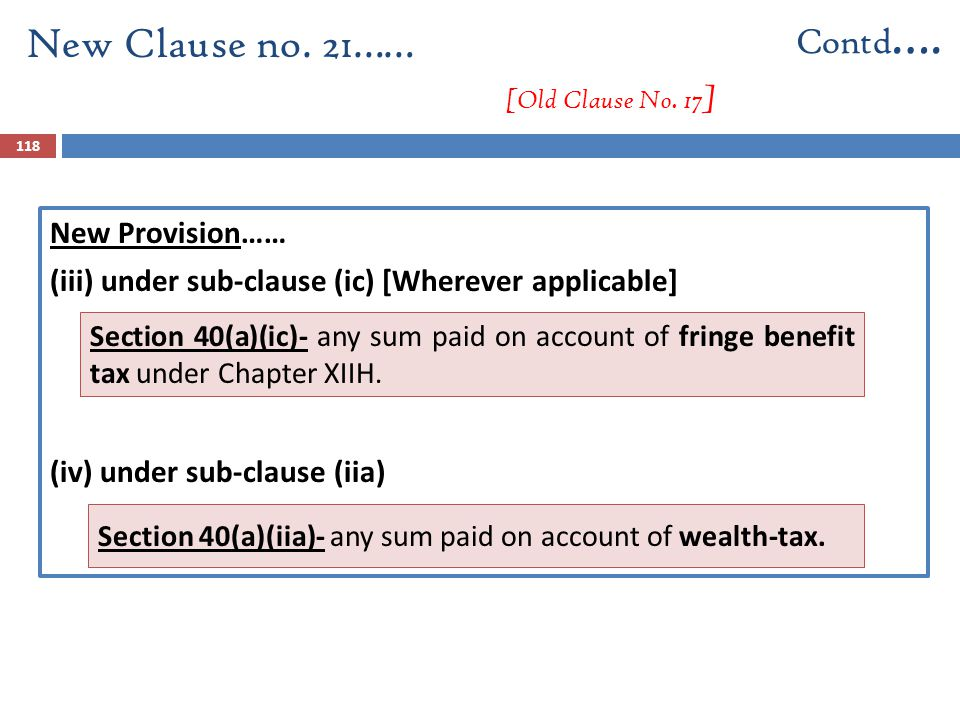 New Provision…… (iii) under sub-clause (ic) [Wherever applicable] (iv) under sub-clause (iia) New Clause no. 21…… [Old Clause No. 17 ] Contd …. 118 Se