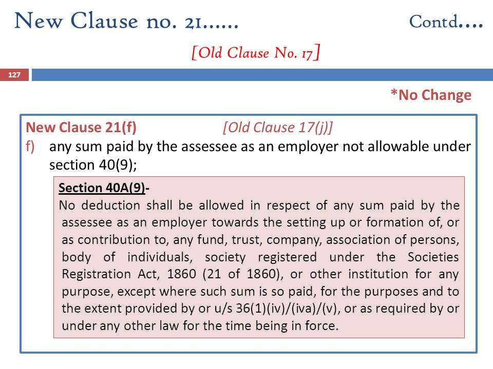 127 New Clause 21(f) [Old Clause 17(j)] f)any sum paid by the assessee as an employer not allowable under section 40(9); New Clause no. 21…… [Old Clau