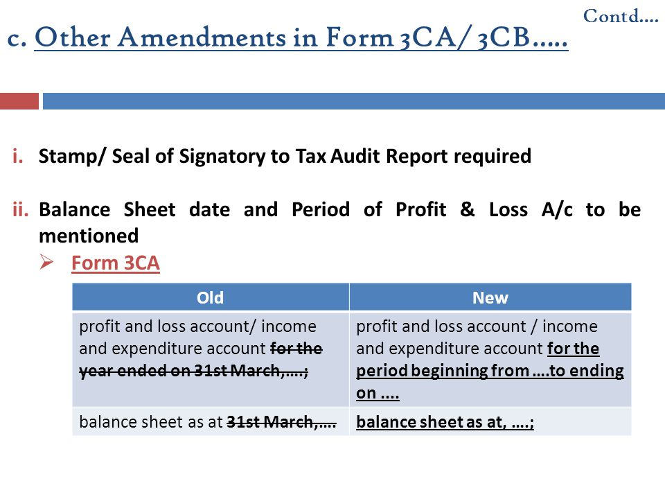 c. Other Amendments in Form 3CA/ 3CB….. i.Stamp/ Seal of Signatory to Tax Audit Report required ii.Balance Sheet date and Period of Profit & Loss A/c