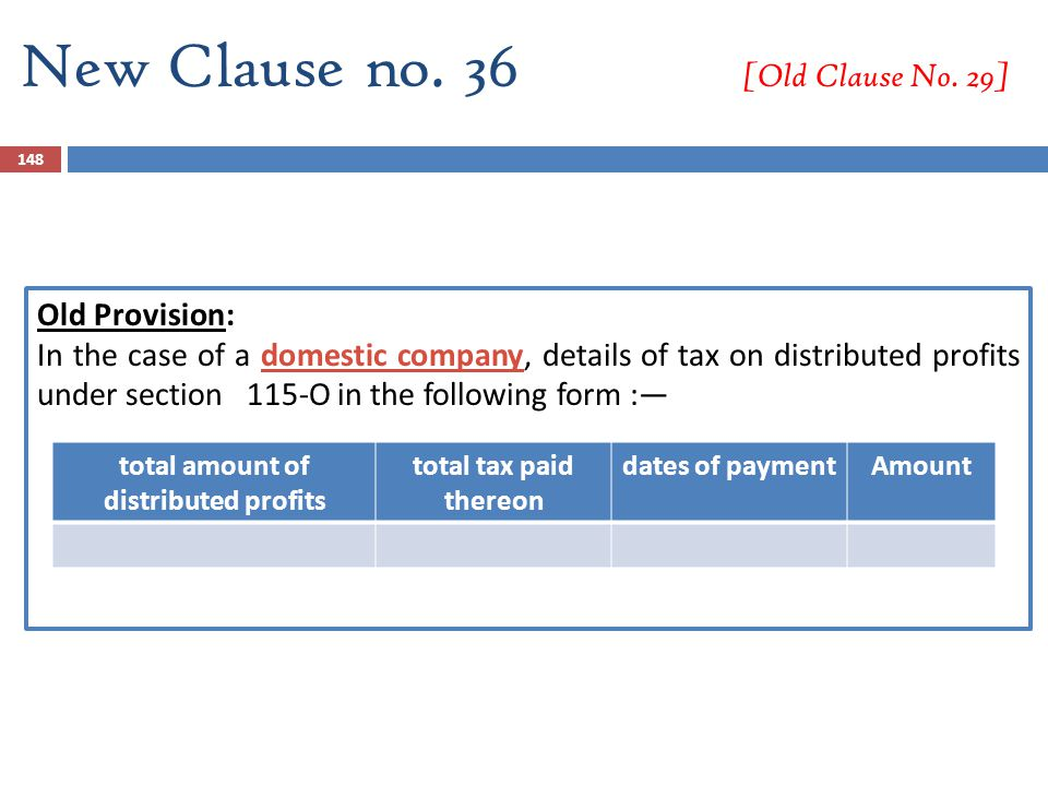 New Clause no. 36 [Old Clause No. 29] Old Provision: In the case of a domestic company, details of tax on distributed profits under section 115-O in t