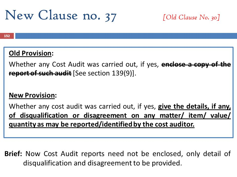 New Clause no. 37 [Old Clause No. 30] Old Provision: Whether any Cost Audit was carried out, if yes, enclose a copy of the report of such audit [See s