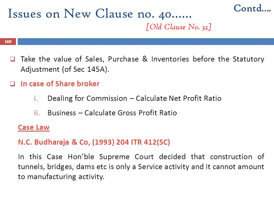 160  Take the value of Sales, Purchase & Inventories before the Statutory Adjustment (of Sec 145A).  In case of Share broker i.Dealing for Commissio