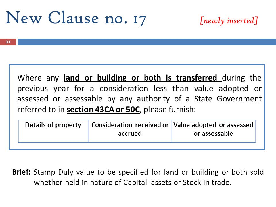 New Clause no. 17 [newly inserted] Where any land or building or both is transferred during the previous year for a consideration less than value adop