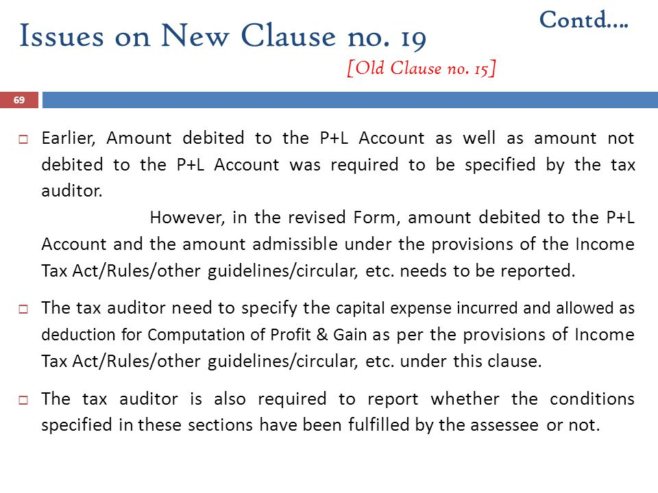 69  Earlier, Amount debited to the P+L Account as well as amount not debited to the P+L Account was required to be specified by the tax auditor. Howe