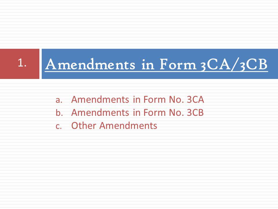 Amendments in Form 3CA/3CB 1. a. Amendments in Form No. 3CA b. Amendments in Form No. 3CB c. Other Amendments