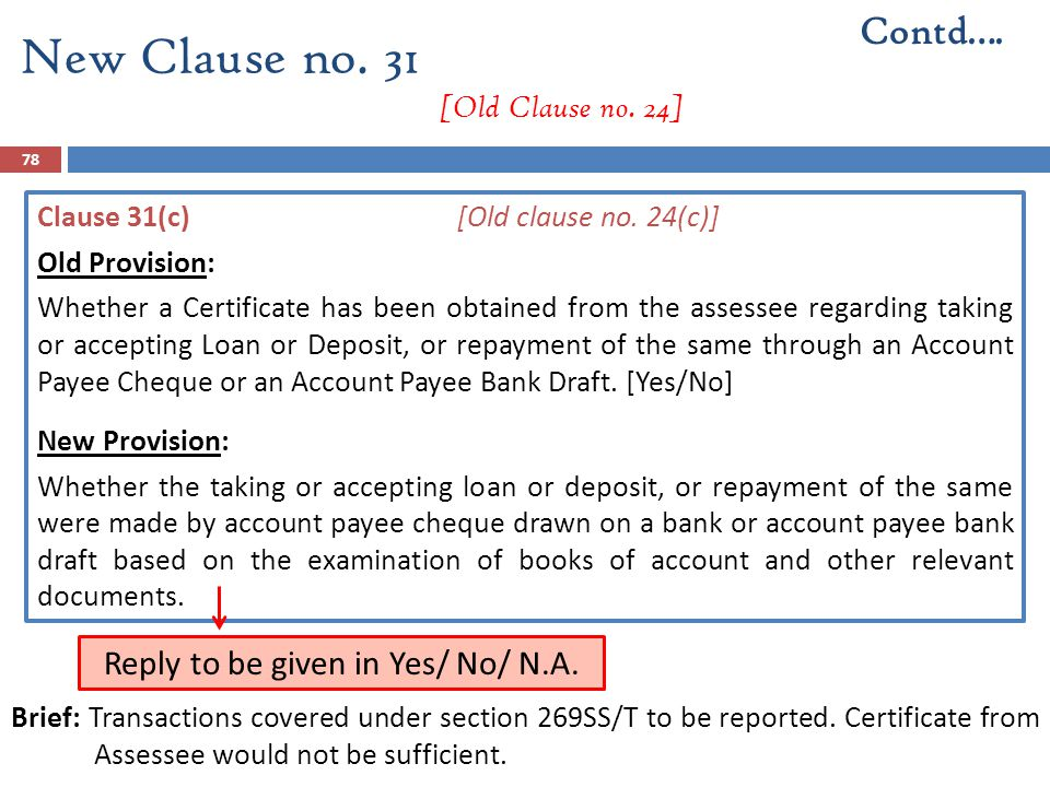 Clause 31(c)[Old clause no. 24(c)] Old Provision: Whether a Certificate has been obtained from the assessee regarding taking or accepting Loan or Depo