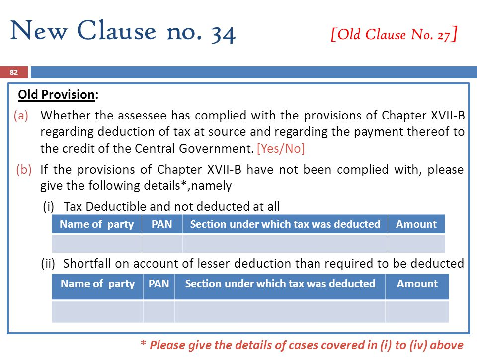 New Clause no. 34 [Old Clause No. 27 ] Old Provision: (a)Whether the assessee has complied with the provisions of Chapter XVII-B regarding deduction o