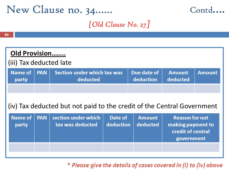 Old Provision…….. (iii) Tax deducted late (iv) Tax deducted but not paid to the credit of the Central Government New Clause no. 34…… [Old Clause No. 2