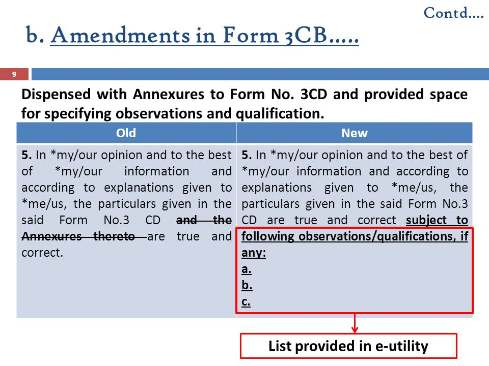 Dispensed with Annexures to Form No. 3CD and provided space for specifying observations and qualification. OldNew 5. In *my/our opinion and to the bes