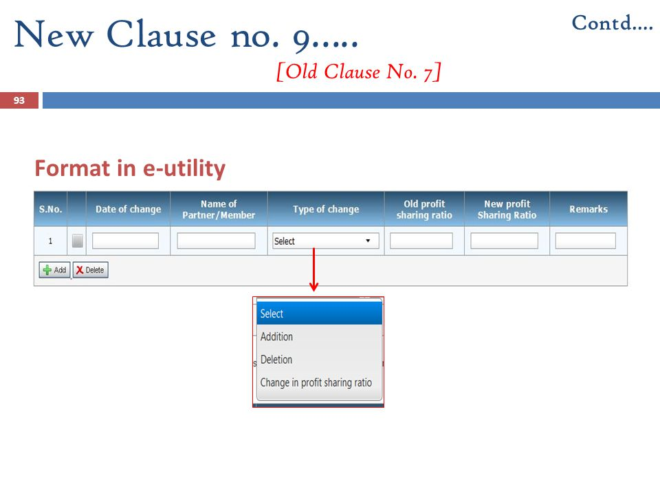 93 Format in e-utility New Clause no. 9….. [Old Clause No. 7] Contd….