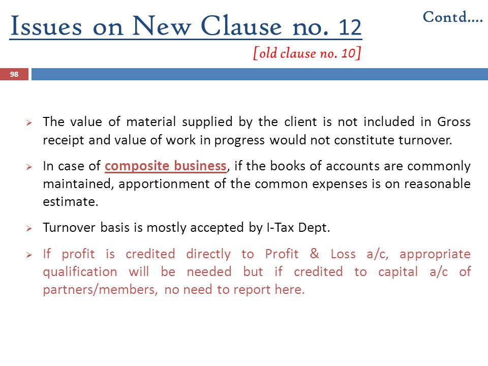 Issues on New Clause no. 12 [old clause no. 10 ] 98  The value of material supplied by the client is not included in Gross receipt and value of work
