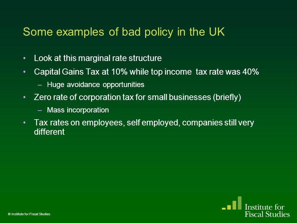 Some examples of bad policy in the UK Look at this marginal rate structure Capital Gains Tax at 10% while top income tax rate was 40% –Huge avoidance opportunities Zero rate of corporation tax for small businesses (briefly) –Mass incorporation Tax rates on employees, self employed, companies still very different © Institute for Fiscal Studies