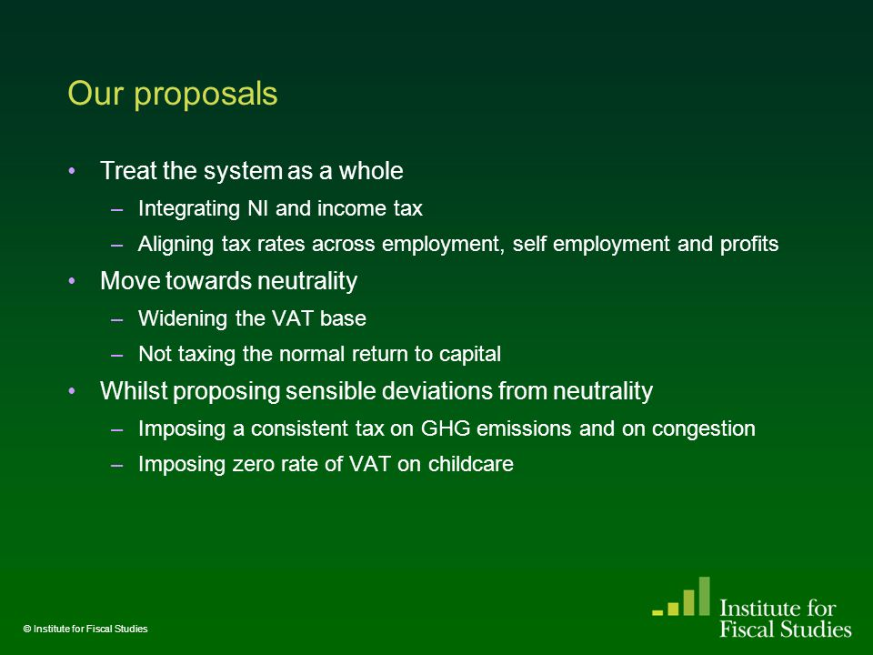Our proposals Treat the system as a whole –Integrating NI and income tax –Aligning tax rates across employment, self employment and profits Move towards neutrality –Widening the VAT base –Not taxing the normal return to capital Whilst proposing sensible deviations from neutrality –Imposing a consistent tax on GHG emissions and on congestion –Imposing zero rate of VAT on childcare © Institute for Fiscal Studies