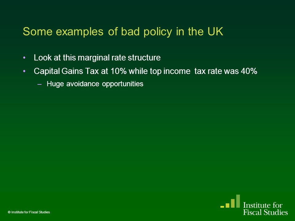 Some examples of bad policy in the UK Look at this marginal rate structure Capital Gains Tax at 10% while top income tax rate was 40% –Huge avoidance opportunities © Institute for Fiscal Studies