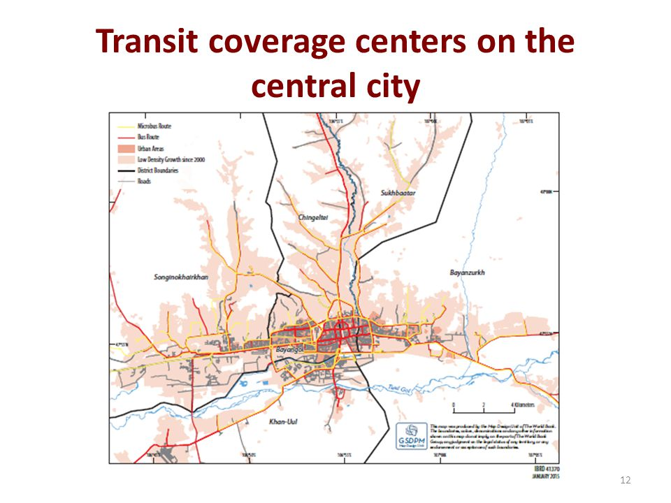Transit coverage centers on the central city 12