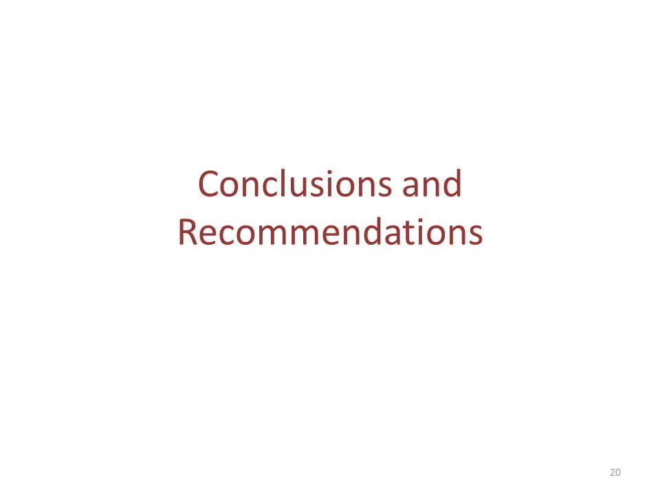 Conclusions and Recommendations 20
