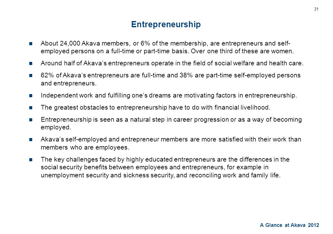 A Glance at Akava 2012 Entrepreneurship About 24,000 Akava members, or 6% of the membership, are entrepreneurs and self- employed persons on a full-time or part-time basis.