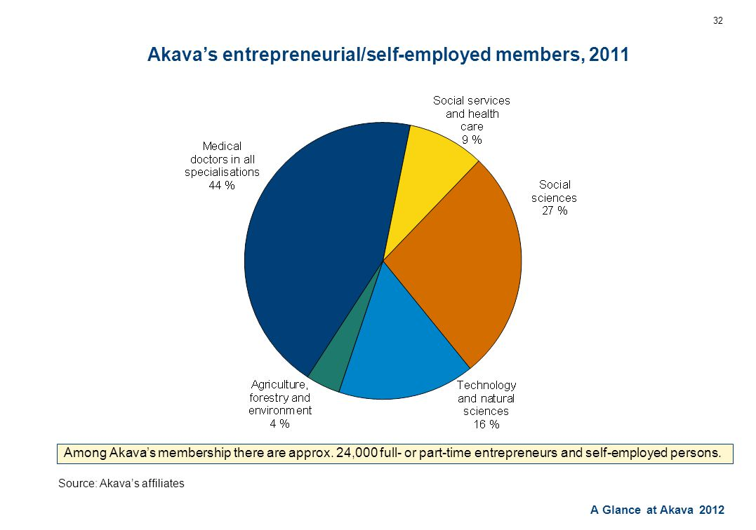 A Glance at Akava 2012 Akava's entrepreneurial/self-employed members, 2011 32 Among Akava's membership there are approx.