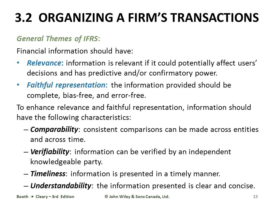General Themes of IFRS: Financial information should have: Relevance: information is relevant if it could potentially affect users' decisions and has