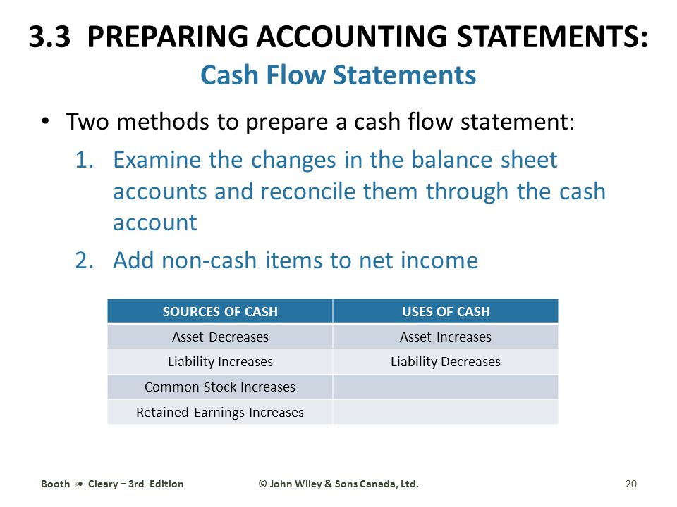 Two methods to prepare a cash flow statement: 1.Examine the changes in the balance sheet accounts and reconcile them through the cash account 2.Add no