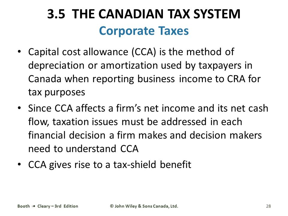 Capital cost allowance (CCA) is the method of depreciation or amortization used by taxpayers in Canada when reporting business income to CRA for tax p
