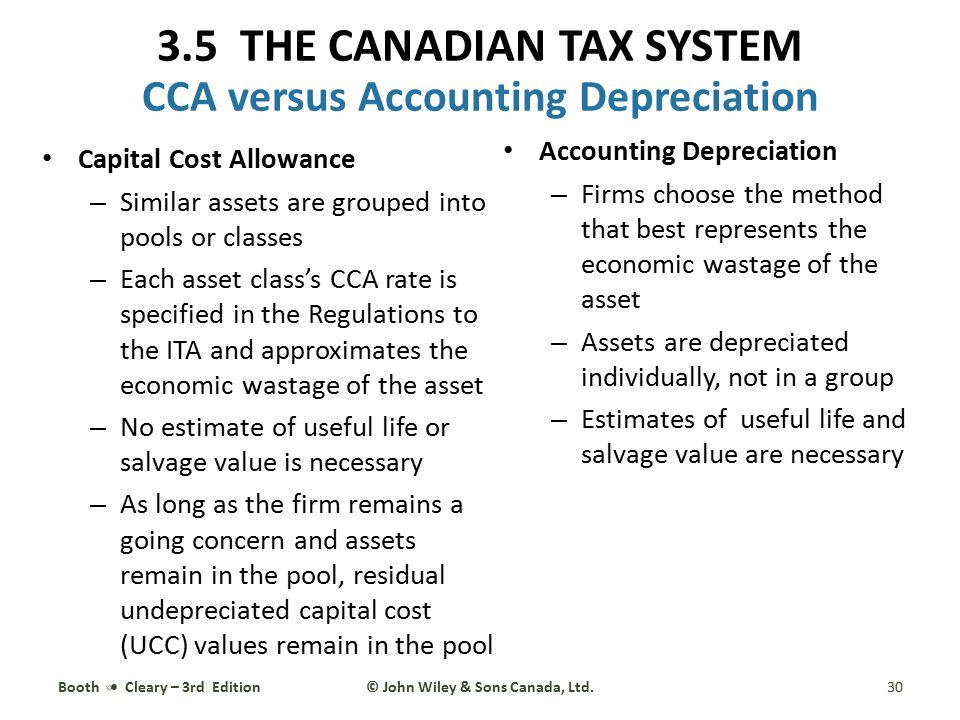 Capital Cost Allowance – Similar assets are grouped into pools or classes – Each asset class's CCA rate is specified in the Regulations to the ITA and