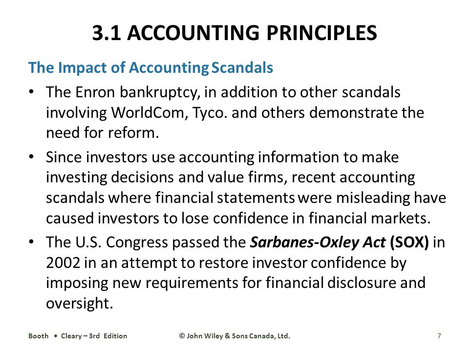 The Impact of Accounting Scandals The Enron bankruptcy, in addition to other scandals involving WorldCom, Tyco. and others demonstrate the need for re