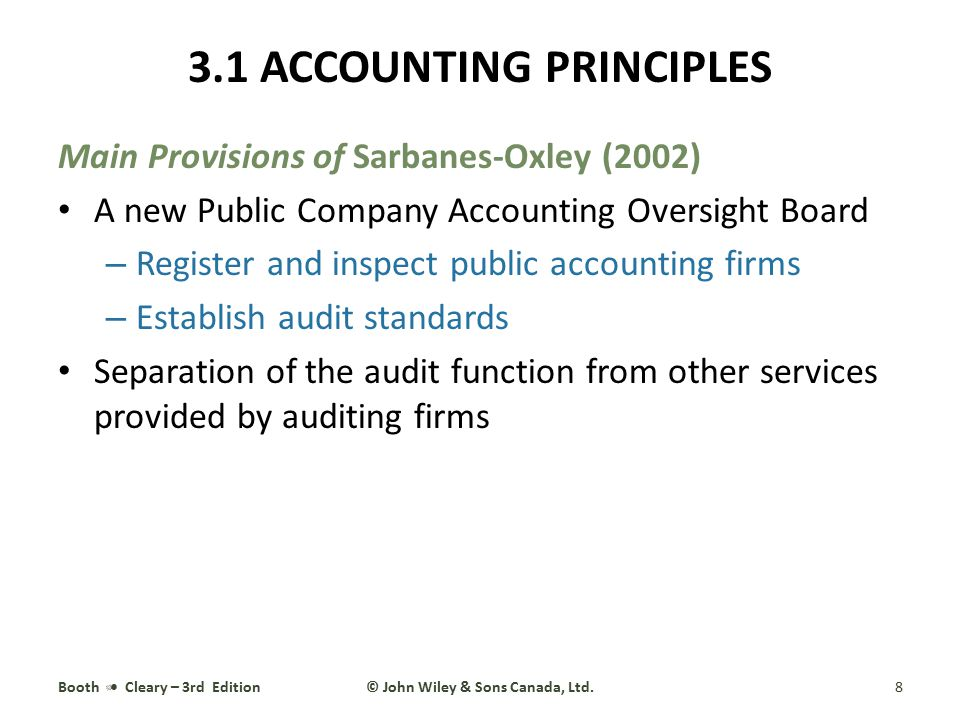 Main Provisions of Sarbanes-Oxley (2002) (continued) Improved standards for corporate governance – Separate board committees for finance and audit – Require external auditors to report to the audit committee – Require audit committee independence and financial expertise, with membership dominated by external directors New requirement that annual reports indicate the state of a firm's internal controls and assess their effectiveness The CEO and CFO must certify that the firms financial statements fairly present in all material respects the operations and financial condition of the issuer Booth Cleary – 3rd Edition9© John Wiley & Sons Canada, Ltd.