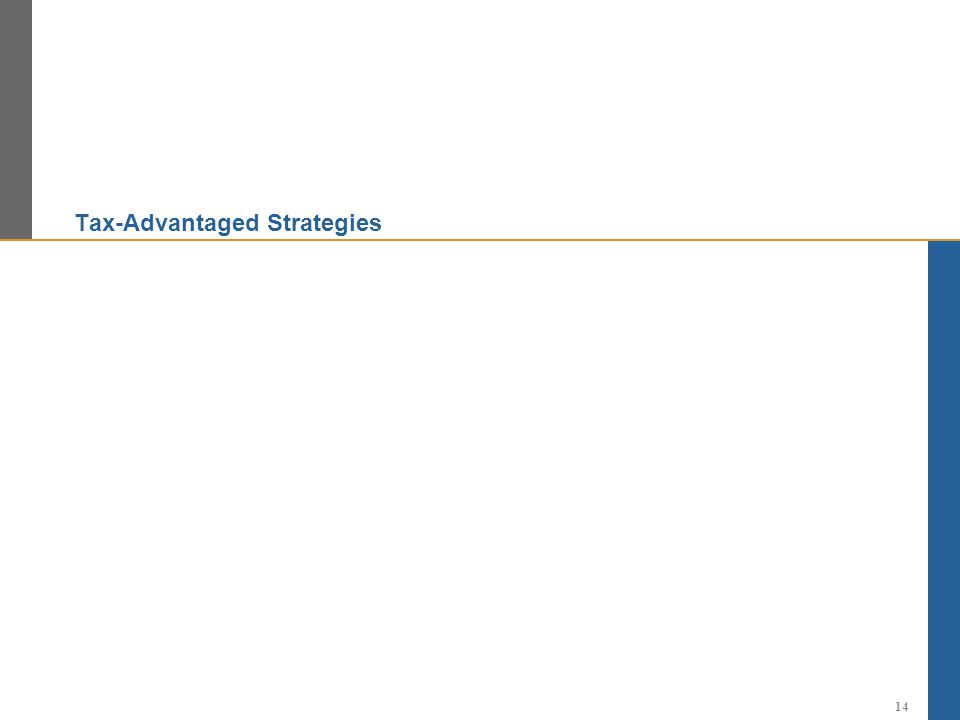 Tax-Advantaged Strategies 14