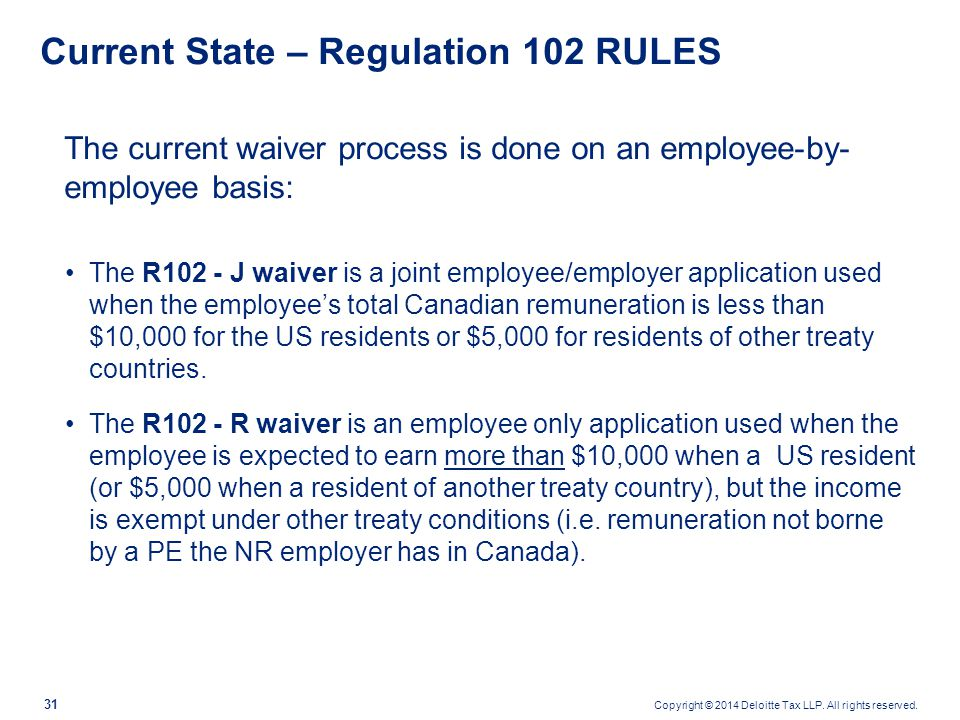 Copyright © 2014 Deloitte Tax LLP. All rights reserved. 31 Current State – Regulation 102 RULES The current waiver process is done on an employee-by-