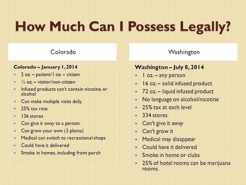 How Much Can I Possess Legally. ColoradoWashington Colorado – January 1, 2014 2 oz.