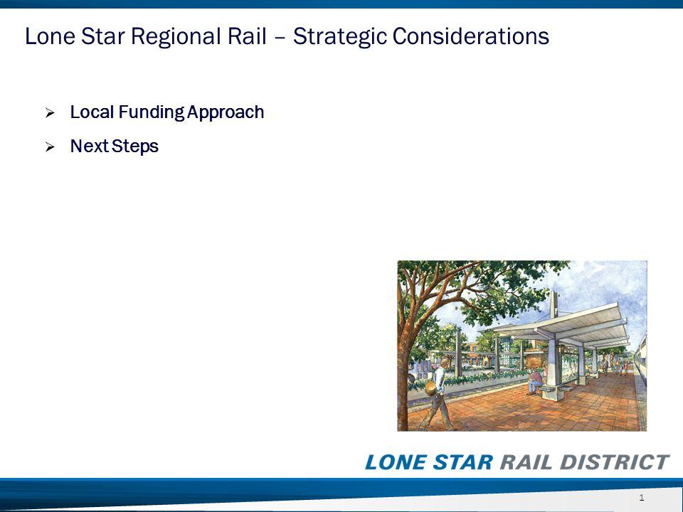  Next Steps 22 Lone Star Regional Rail – Strategic Considerations
