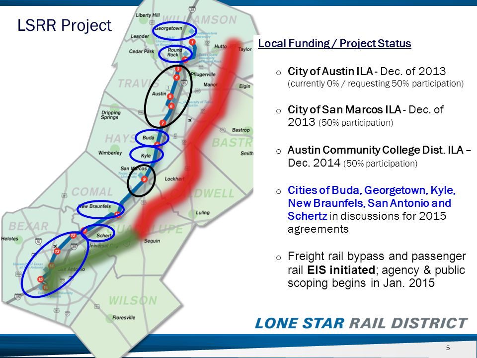55 Local Funding / Project Status o City of Austin ILA - Dec. of 2013 (currently 0% / requesting 50% participation) o City of San Marcos ILA - Dec. of
