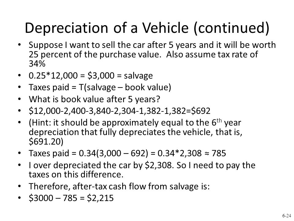 6-24 Depreciation of a Vehicle (continued) Suppose I want to sell the car after 5 years and it will be worth 25 percent of the purchase value.