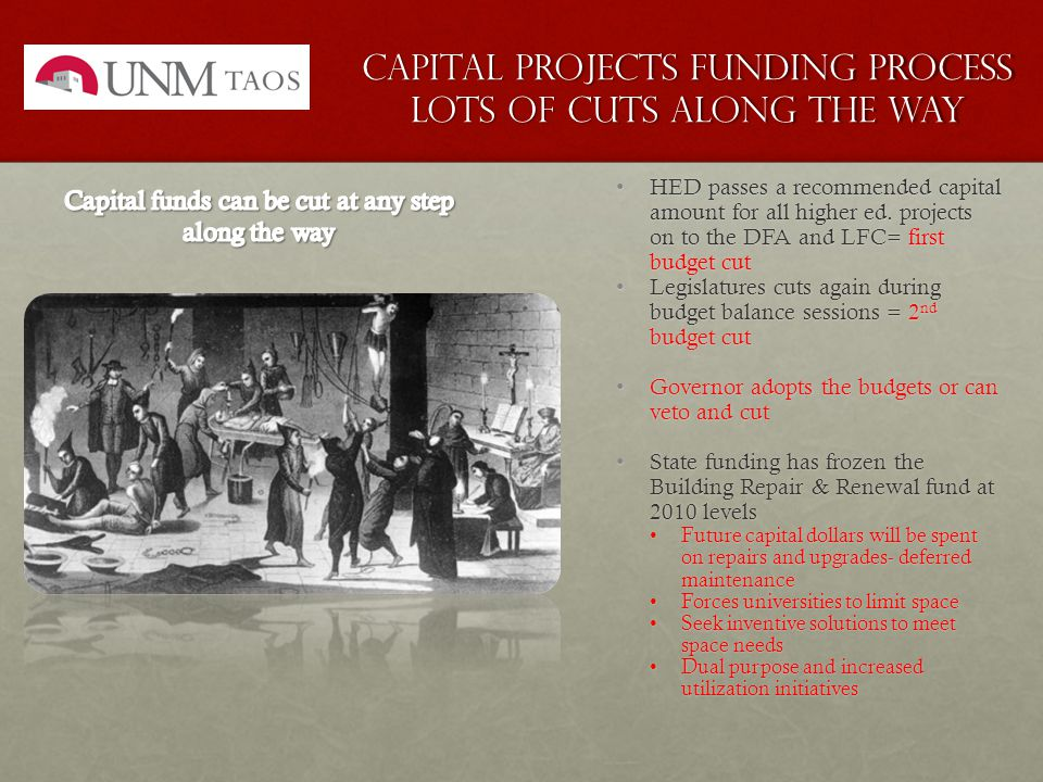 Capital Projects funding process Lots of cuts along the way HED passes a recommended capital amount for all higher ed.