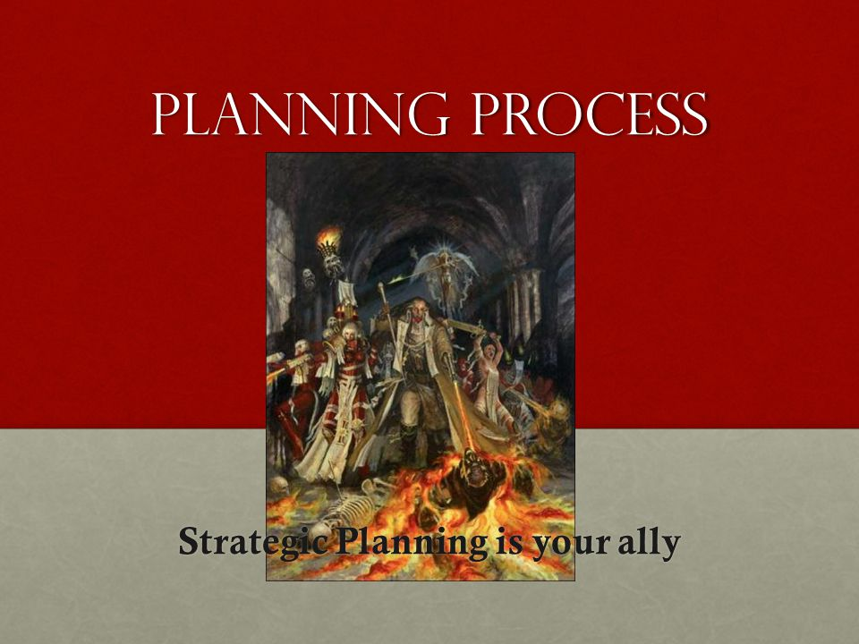 Planning process Strategic Planning is your ally