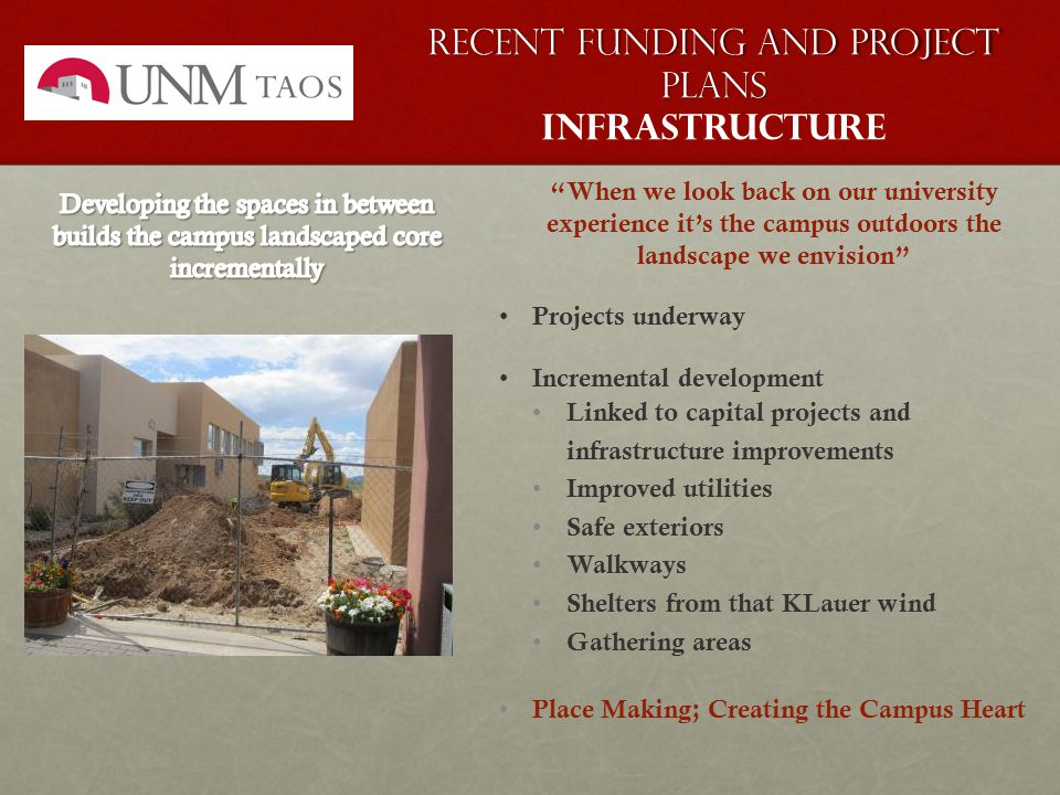 Recent Funding and Project plans Recent Funding and Project plans Infrastructure When we look back on our university experience it's the campus outdoors the landscape we envision Projects underway Incremental development Linked to capital projects and infrastructure improvements Improved utilities Safe exteriors Walkways Shelters from that KLauer wind Gathering areas Place Making; Creating the Campus Heart