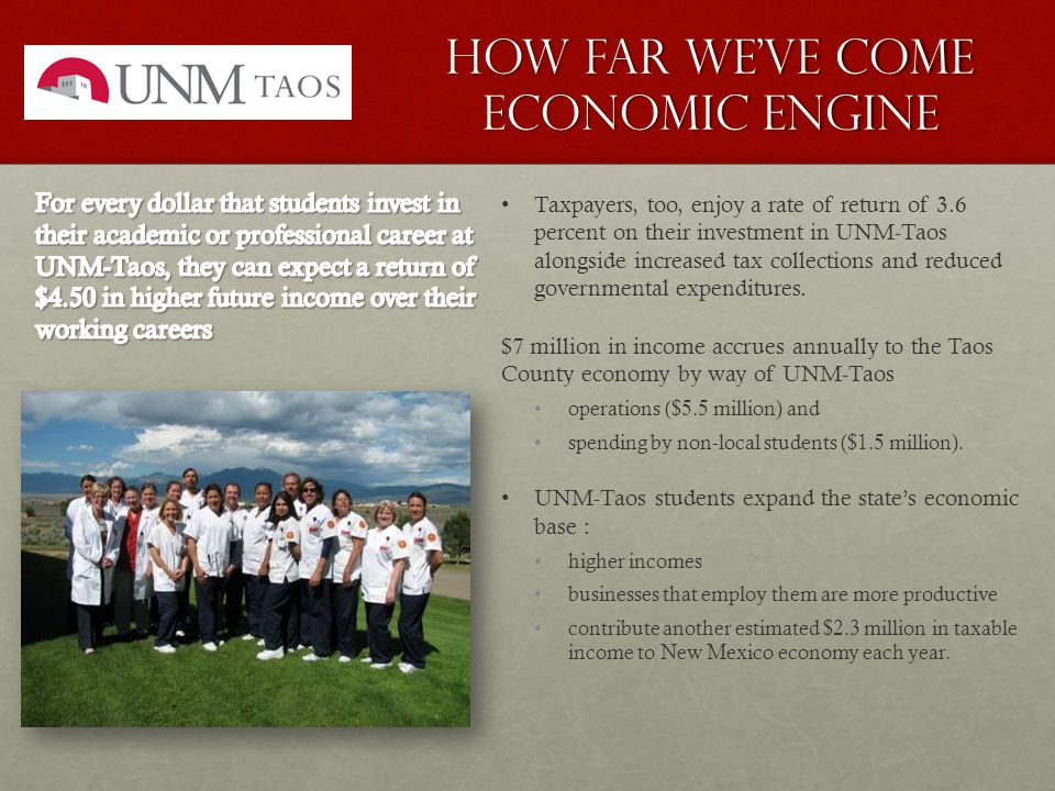 How Far We've come Economic Engine Taxpayers, too, enjoy a rate of return of 3.6 percent on their investment in UNM-Taos alongside increased tax collections and reduced governmental expenditures.