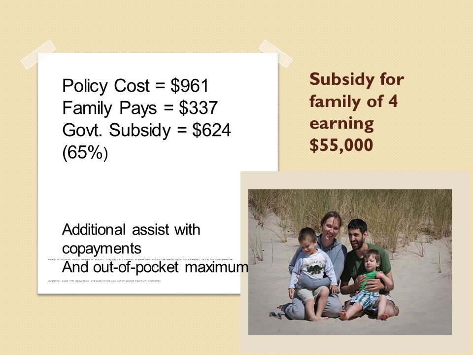 Health Insurance Marketplace Subsidies for individuals and families on a sliding scale earning between 100% and 400% of the FPL 400% of FPL is $46,000 for a single person and $78,000 for a family of three 18