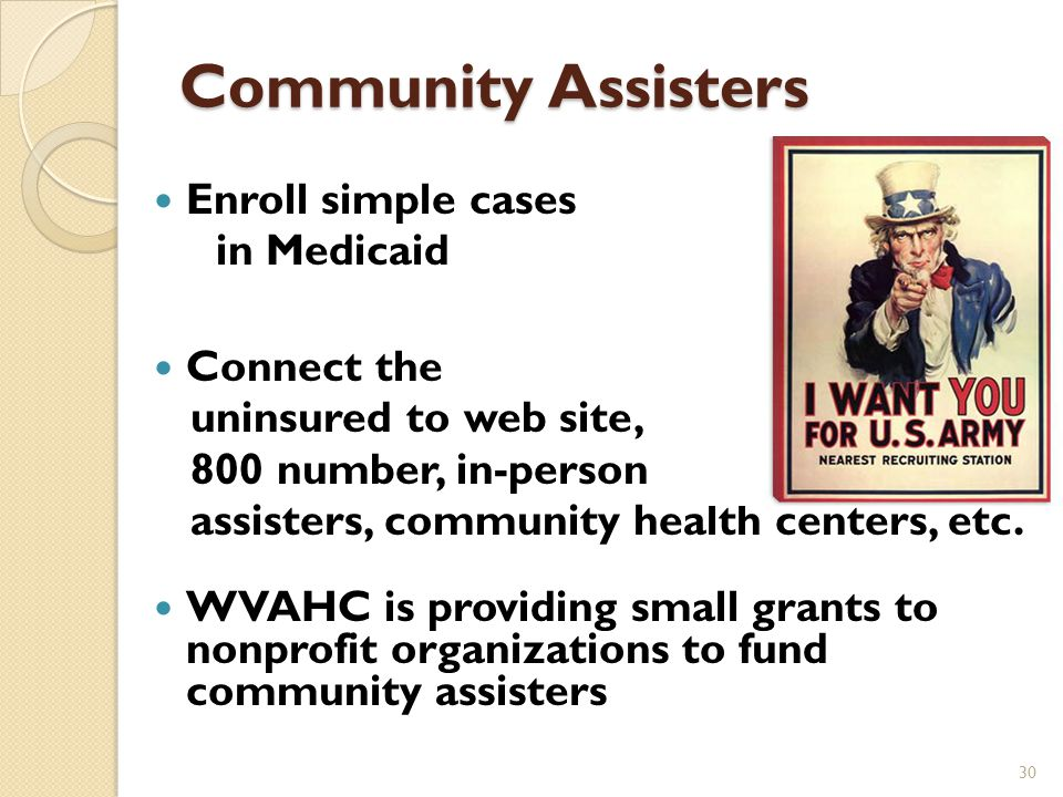 Personal Assistance Insurance agents and brokers Navigators  Advanced Patient Advocacy/Hospitals  WV Parent Training and Information Center In-person assisters – 270  Maximus  Placement in CAP agencies, free clinics, etc.