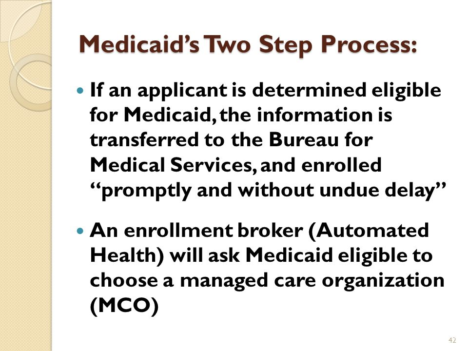 More Medicaid Enrollment Income/household by self-attestation but checked electronically by IRS data Citizenship is verified electronically with the Social Security Administration Documented (legal) immigrants only qualify for Medicaid under limited circumstances Undocumented immigrants do not qualify at all 41