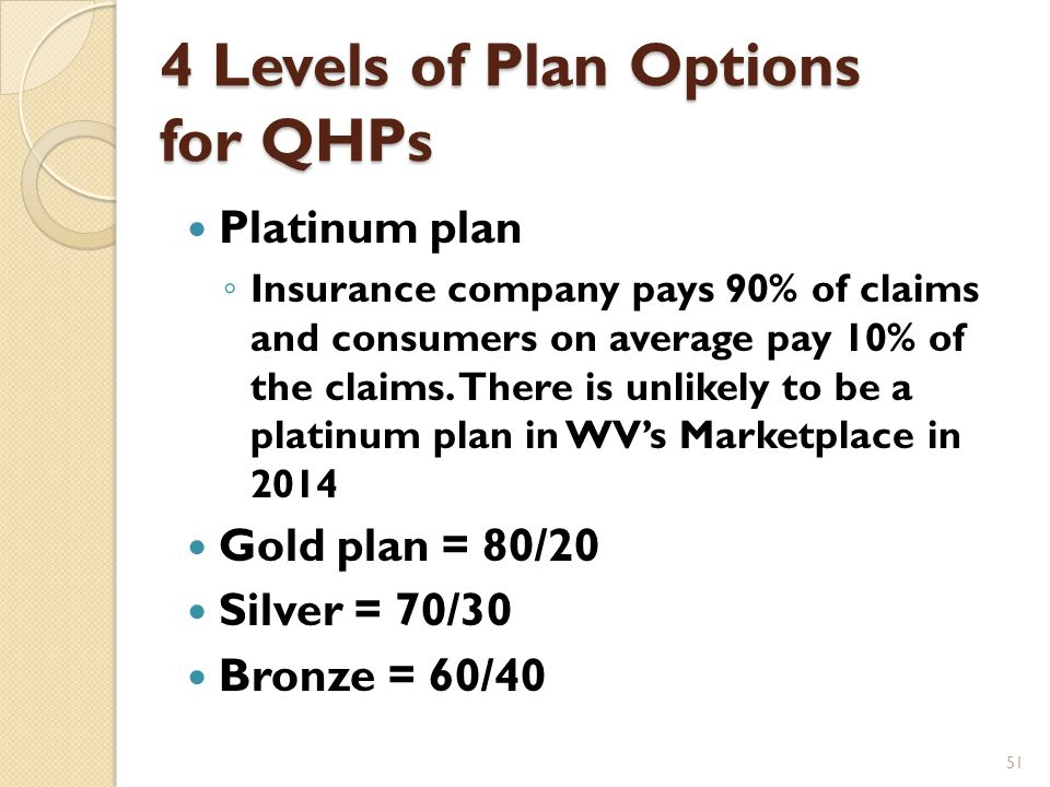 QHP Choices: 4 Levels Four metal levels of plans are offered in the Marketplace and vary based on their actuarial value The actuarial value is what percentage of legitimate claims the insurance company pays and what percentage on average consumers pay 50