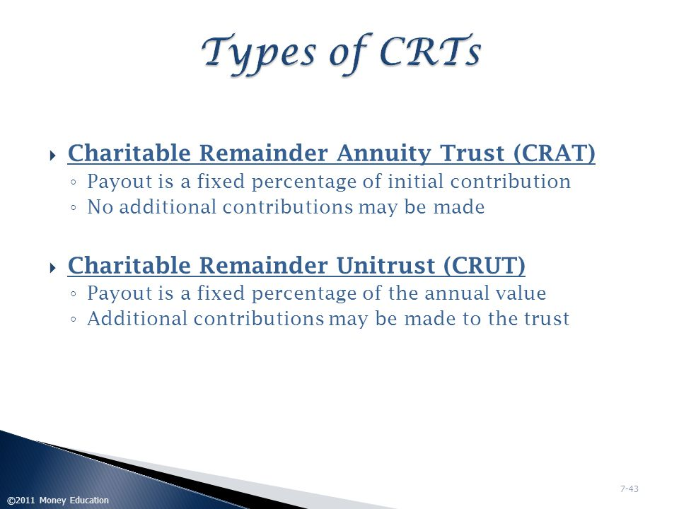  Contribution of irrevocable, vested remainder interest  Property commingled with property of other donors  Fund cannot invest in tax-exempt securities  No donor or income beneficiary can be trustee  Donor must retain life income interest  Each income beneficiary entitled to annual pro rata share of income ©2011 Money Education 7-44