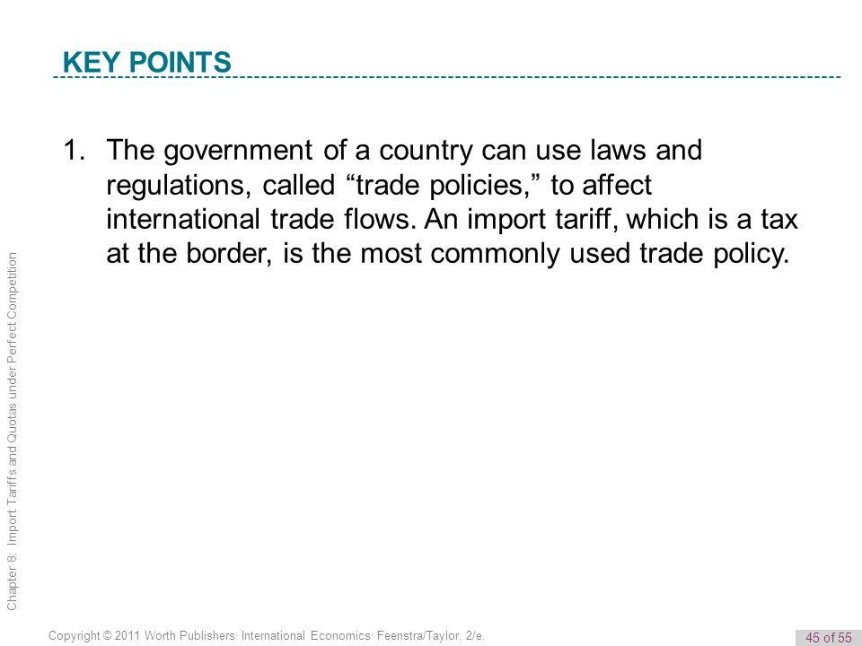 45 of 55 Copyright © 2011 Worth Publishers· International Economics· Feenstra/Taylor, 2/e. Chapter 8: Import Tariffs and Quotas under Perfect Competit