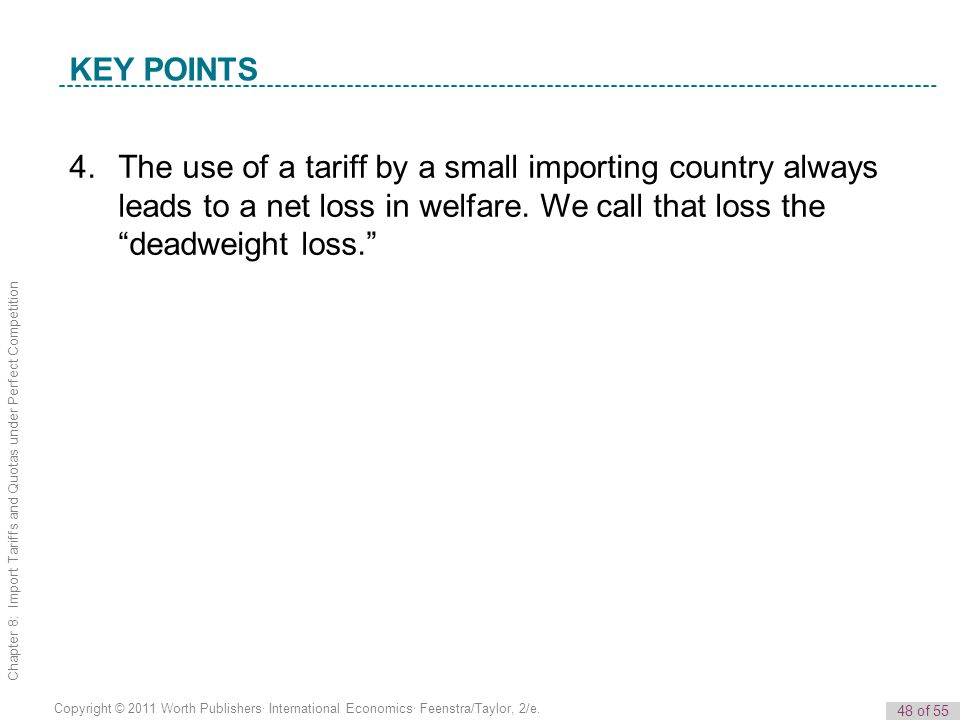 48 of 55 Copyright © 2011 Worth Publishers· International Economics· Feenstra/Taylor, 2/e. Chapter 8: Import Tariffs and Quotas under Perfect Competit
