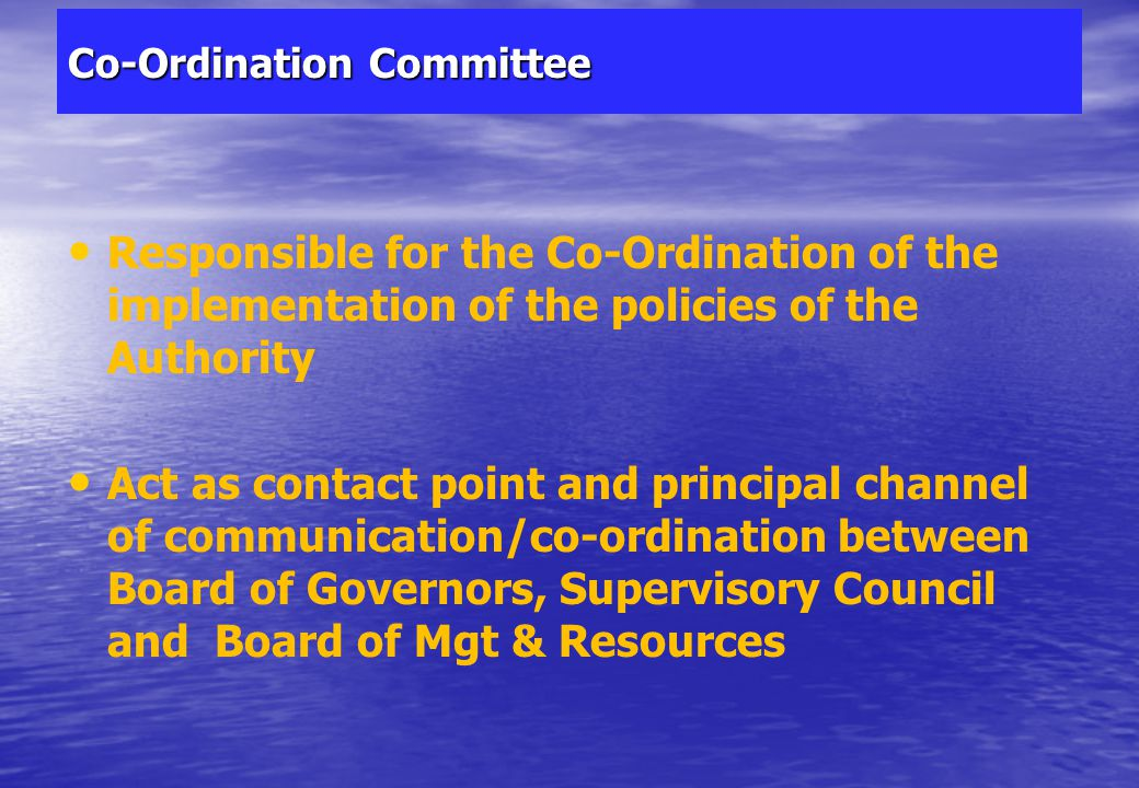 Co-Ordination Committee 33 Act as contact point and principal channel of communication/co- ordination between Board of Governors, Supervisory Council